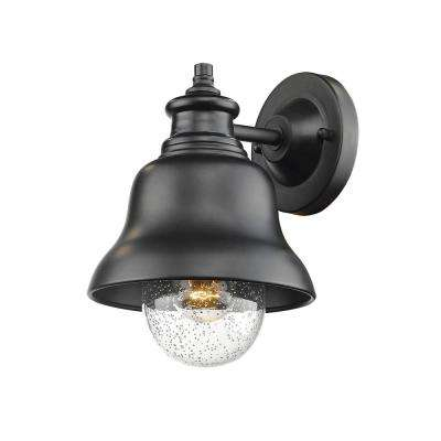 10 in. 1-Light Powder Coated Black Outdoor Wall Lantern Sconce with Glass Shade