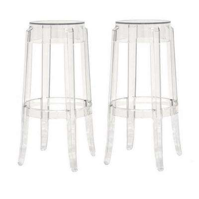 Bettino Clear Plastic 2-Piece Bar Stool Set