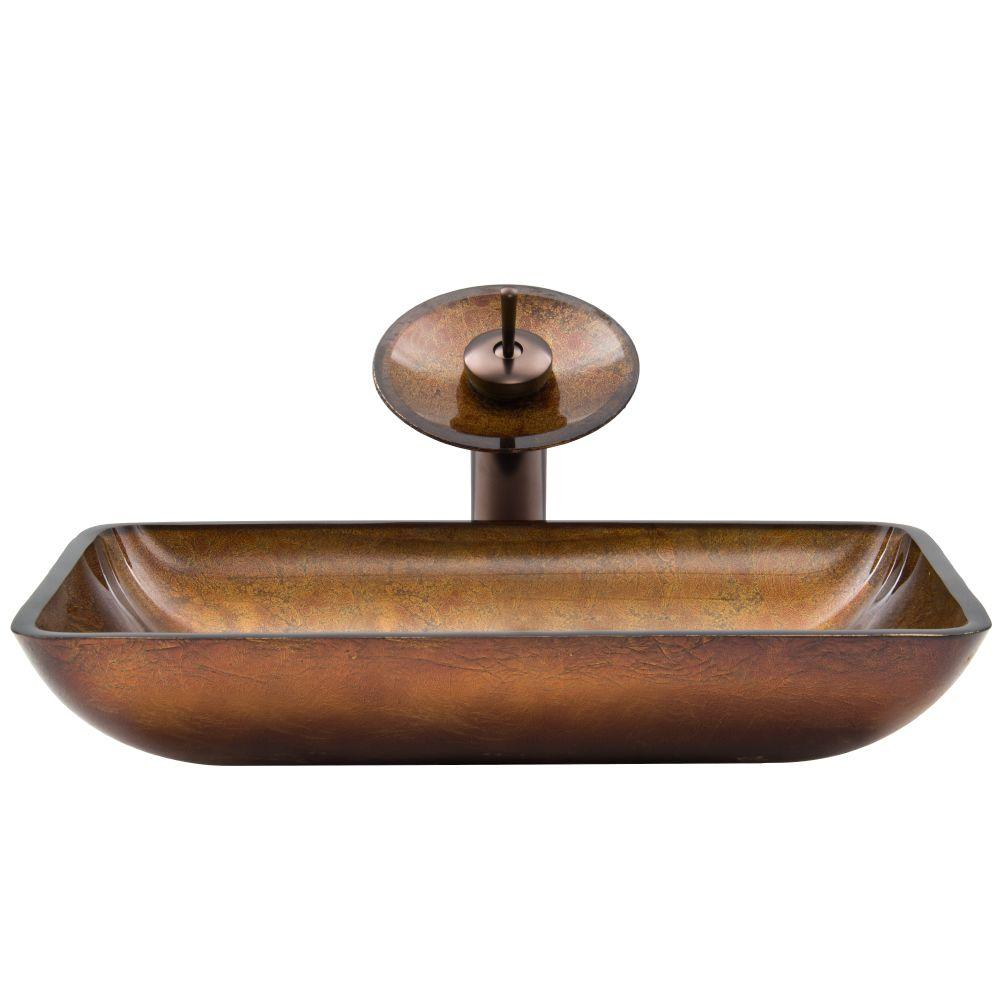 VIGO Rectangular Glass Vessel Sink In Russet Glass With Waterfall Faucet  Set In Oil Rubbed Bronze