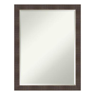 Medium Rectangle Rustic Brown Beveled Glass Casual Mirror (26.5 in. H x 20.5 in. W)