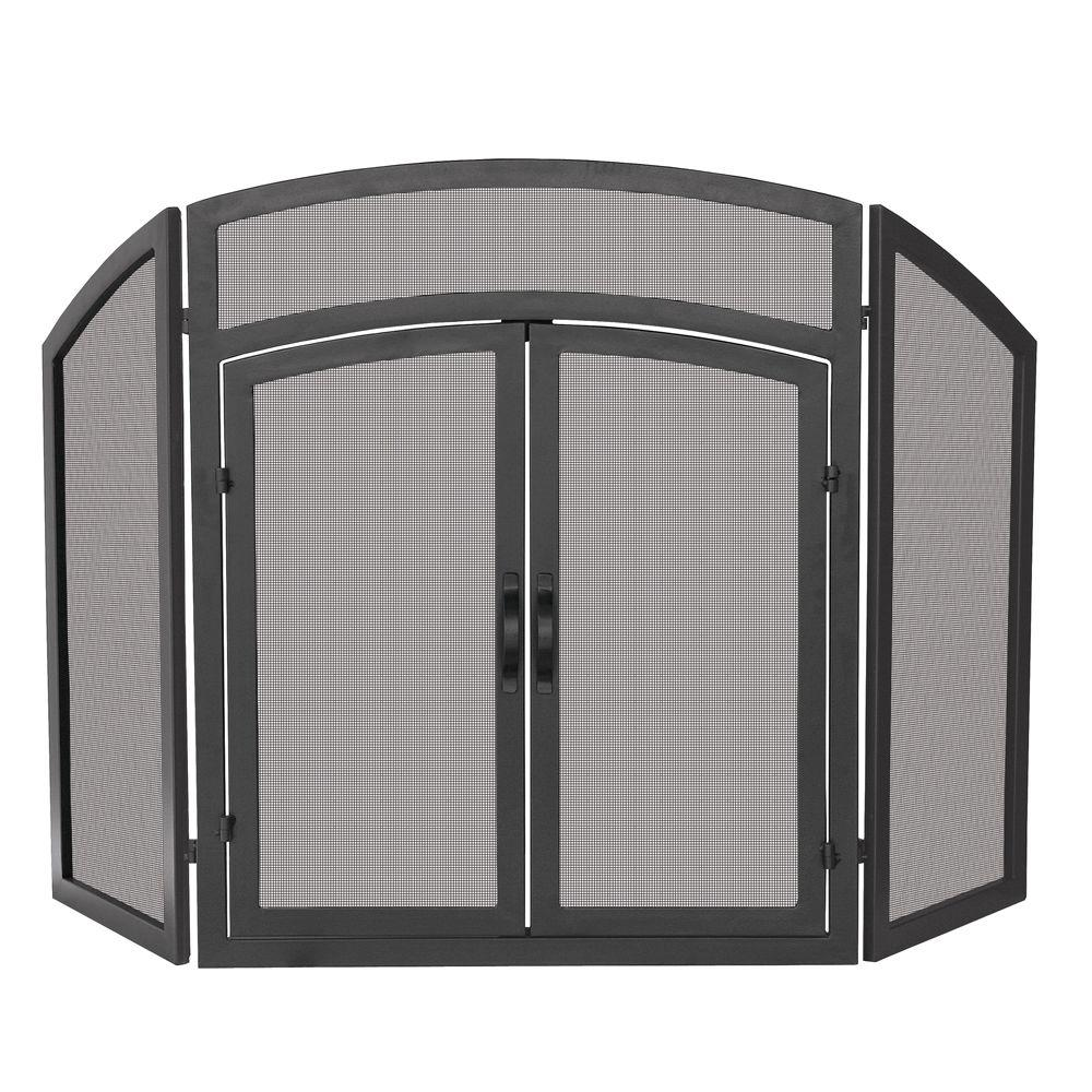 Visit The Home Depot to buy UniFlame 3-Panel Black Wrought Iron Arch Top Fireplace Screen with Doors S-1178