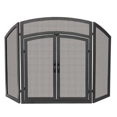Arch Top Black Wrought Iron 3-Panel Fireplace Screen with Doors