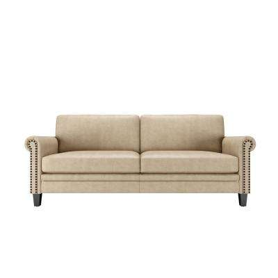 Fulton 79.8 in. Latte Tan Distressed Faux Leather 3-Seater Lawson Sofa with Removable Cushions