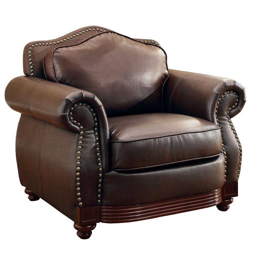 HomeSullivan Kelvington Camelback Bonded Leather Arm Chair in Chocolate
