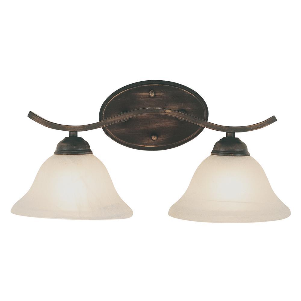 Hollyslope 2-Light Rubbed Oil Bronze Bath Light