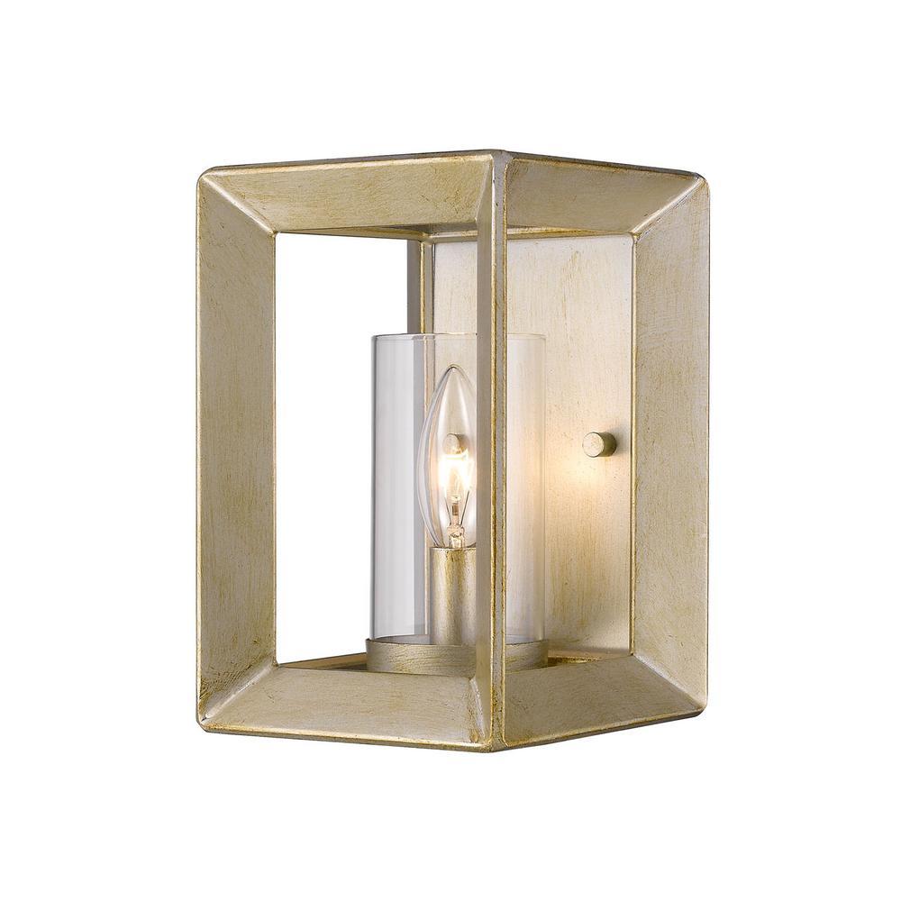 Smyth White Gold 1-Light Bath Light with Clear Glass