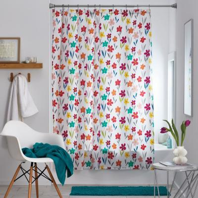 Fresh Flower 72 in. Multicolored Floral Cotton Percale Shower Curtain