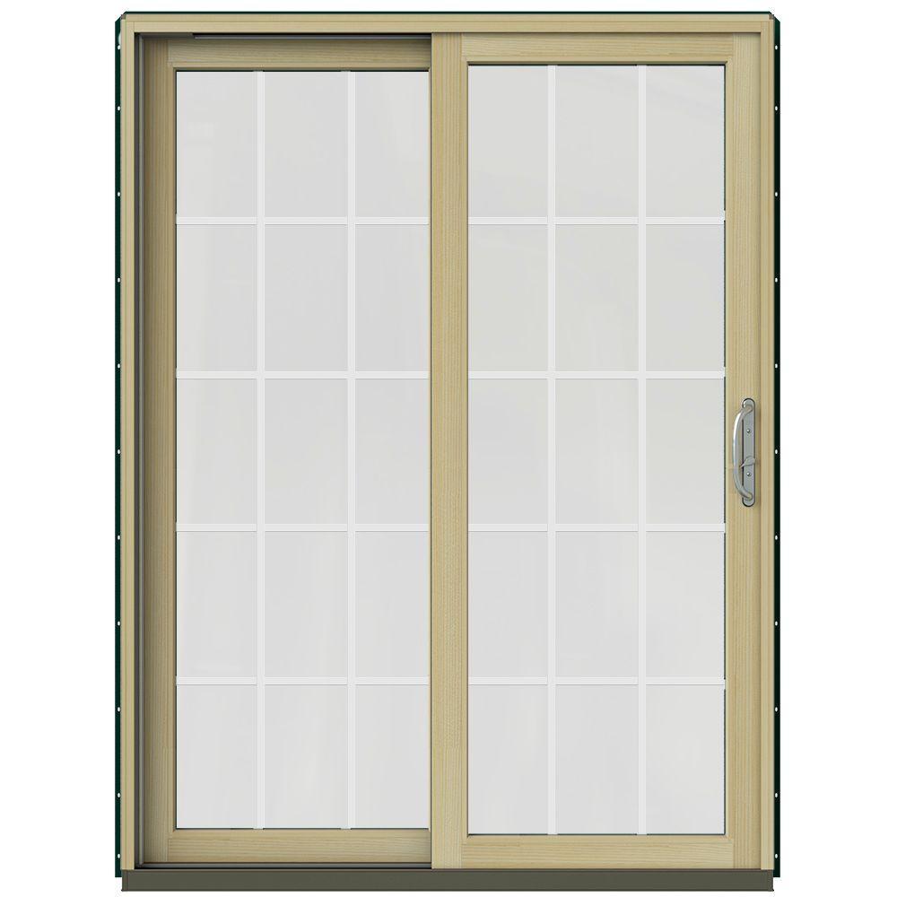 59-1/4 in. x 79-1/2 in. W-2500 Hartford Green Prehung Left-Hand Clad-Wood Sliding Patio Door with 15-Lite Grids