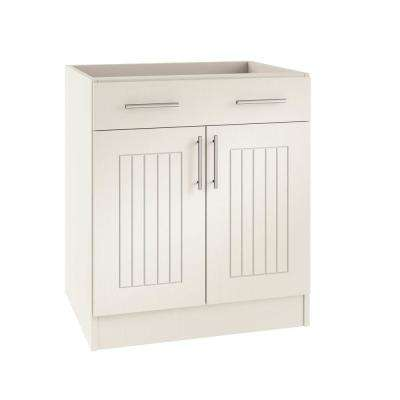 Assembled 24x34.5x24 in. Naples Island Outdoor Kitchen Base Cabinet with 2 Doors and 1 Drawer in Radiant White