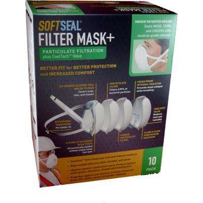Silicon Molded Large Fine Particle Filtration Respirator Filter Dust Mask (10-Pack)