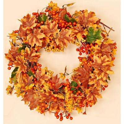20 in. Maple Leaf and Mixed Berry Fall Wreath