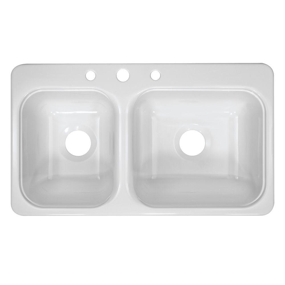 Lyons Industries Style CB Drop-In Acrylic 33x19x8 in. 3-Hole 40/60 Double Bowl Kitchen Sink in White