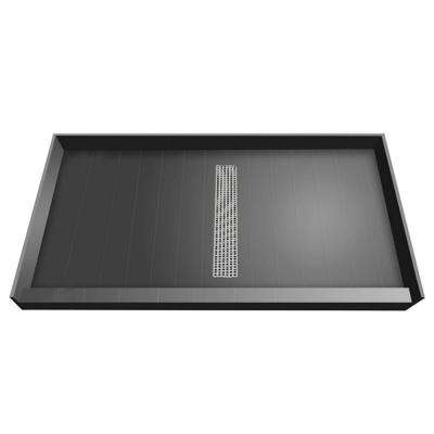36 in. x 60 in. Single Threshold Shower Base with Center Drain and Brushed Nickel Trench Grate