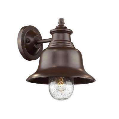 12 in. 1-Light Powder Coated Bronze Outdoor Wall Lantern Sconce with Glass Shade