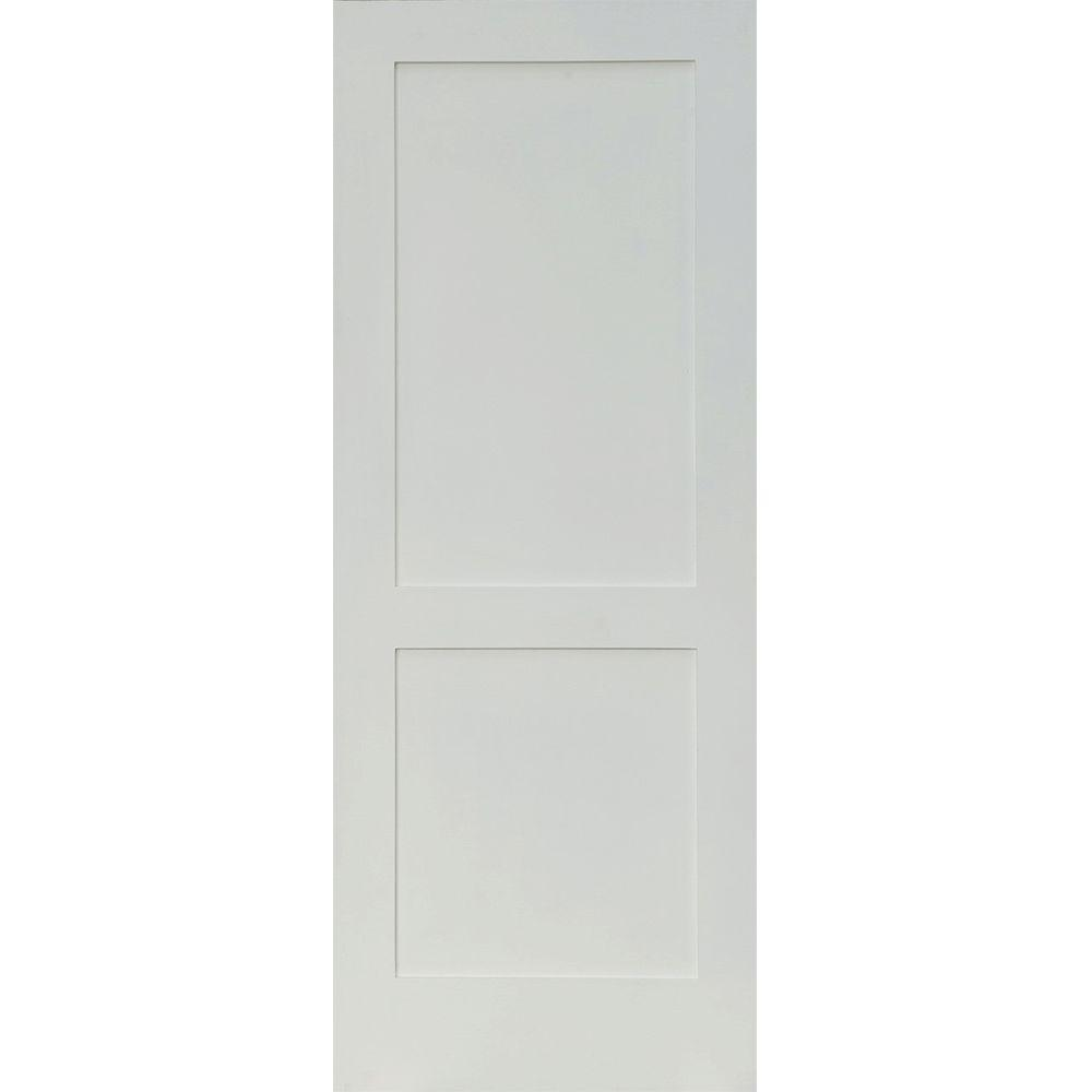 36 in. x 80 in. Craftsman Shaker Primed MDF 2-Panel Left-Hand