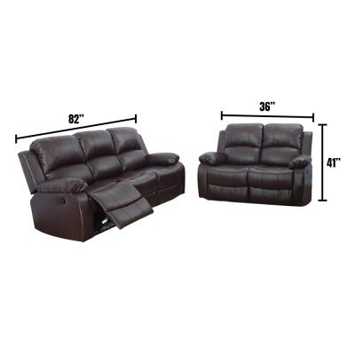 Espresso Brown 2-Piece Leather Living Room Set