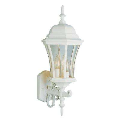 Cabernet Collection 3-Light Outdoor White Coach Lantern with Clear Curved Glass Shade