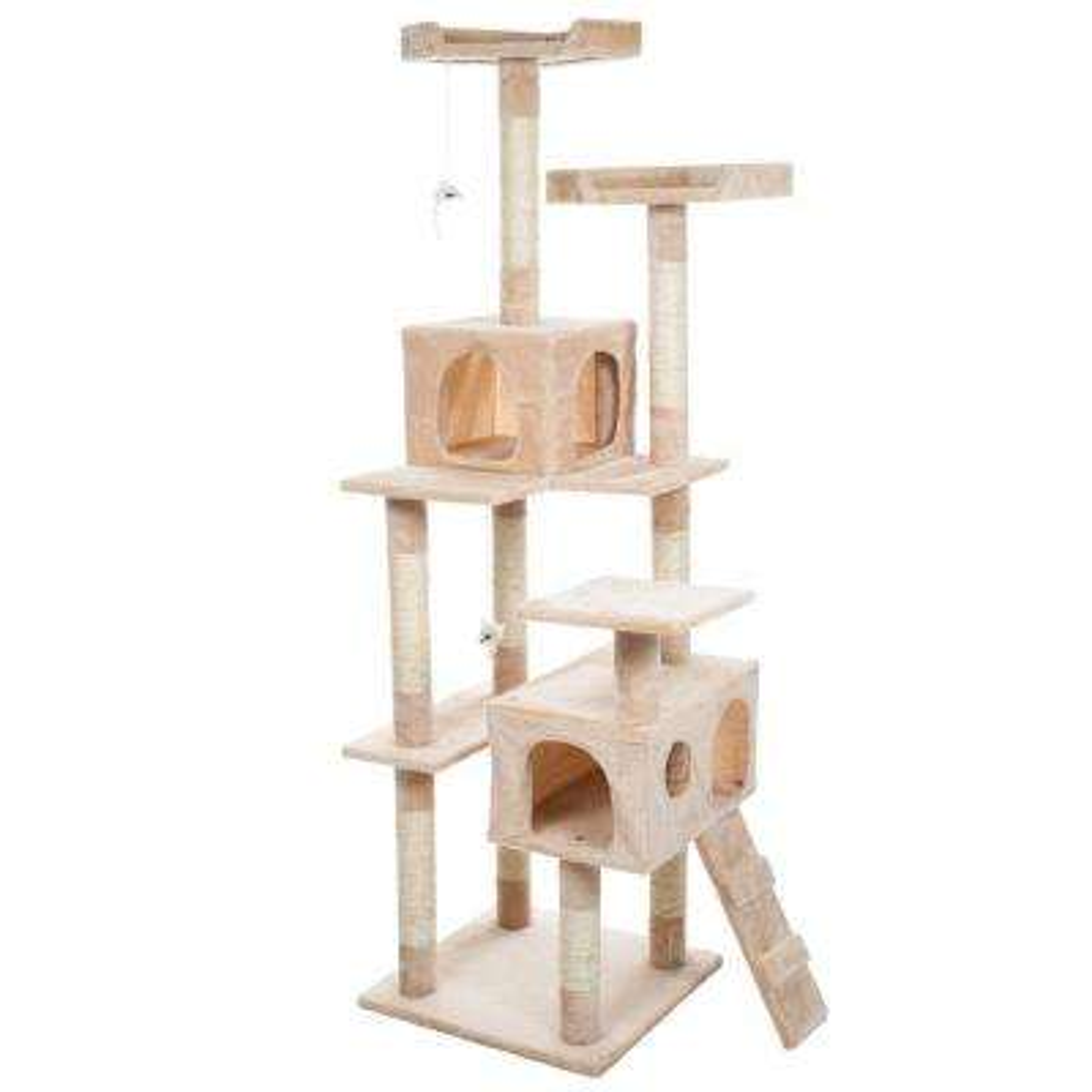 66.25 in. Beige Skyscraper Sleep and Play Cat Tree