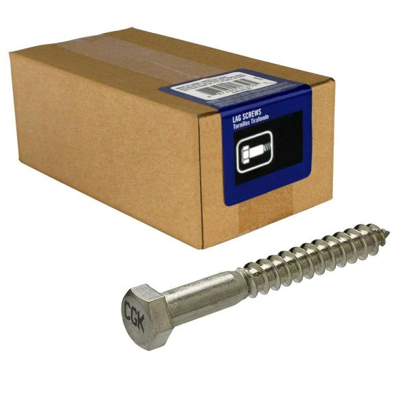 1/4 in. x 2-1/2 in. Stainless Steel Hex Lag Screw (5-Pack)