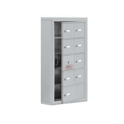 19100 Series 17.5 in. W x 31 in. H x 6.25 in. D 8 Doors Cell Phone Locker Surface Mount Keyed Lock in Aluminum