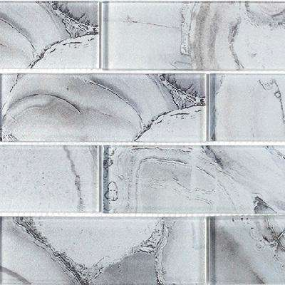 Geode Brick Gray 11.625 in. x 11.75 in. x 8 mm Interlocking Glossy Glass Mosaic Tile