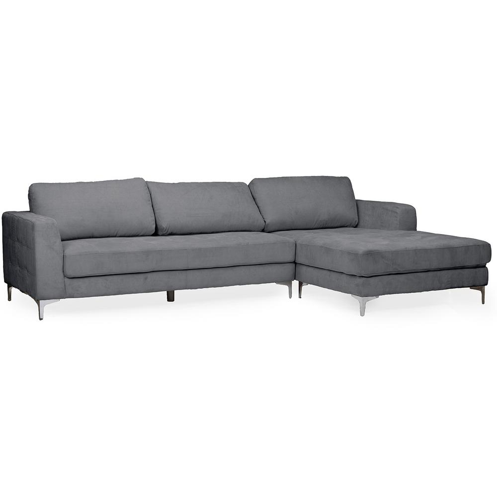 Pleasing Agnew 2 Piece Mid Century Gray Fabric Upholstered Right Facing Chase Sectional Sofa Uwap Interior Chair Design Uwaporg
