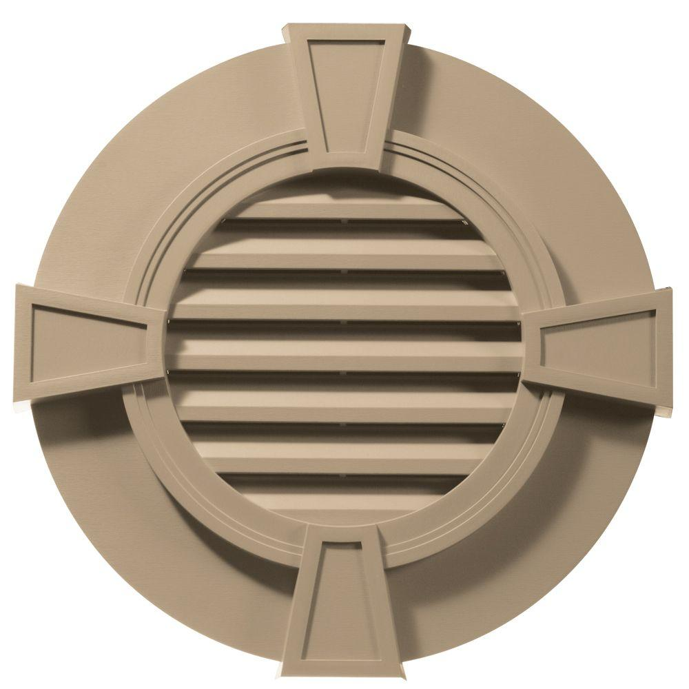 Builders Edge 30 in. Round Gable Vent in Tan with Keystones