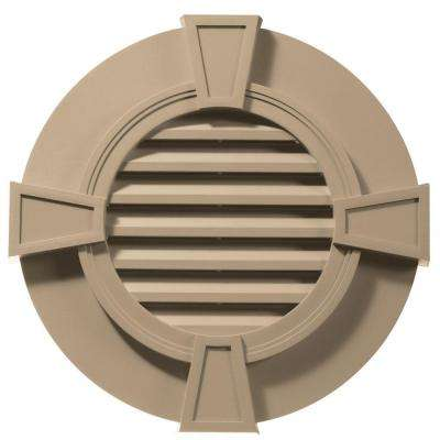30 in. Round Gable Vent in Tan with Keystones