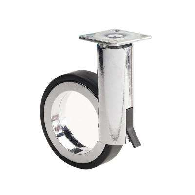 3-17/32 in. black and chrome Swivel with Brake plate Caster, 132 lb. Load Rating