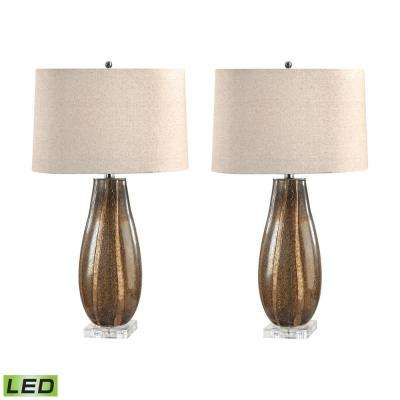28 in. Oval Sand Glass LED Table Lamp Set