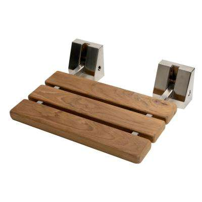 Wall-Mounted Shower Seat with Brushed Nickel Joints in Natural Wood