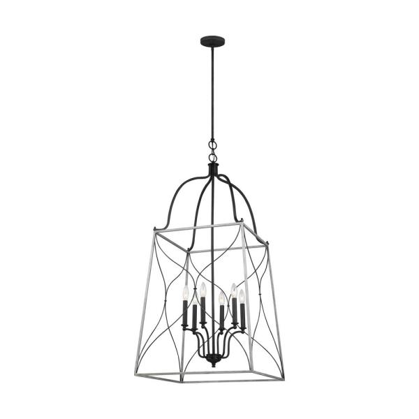 Carra Large 6-Light Weathered Zinc Hall/Foyer Pendant with White Wash Cage Shade