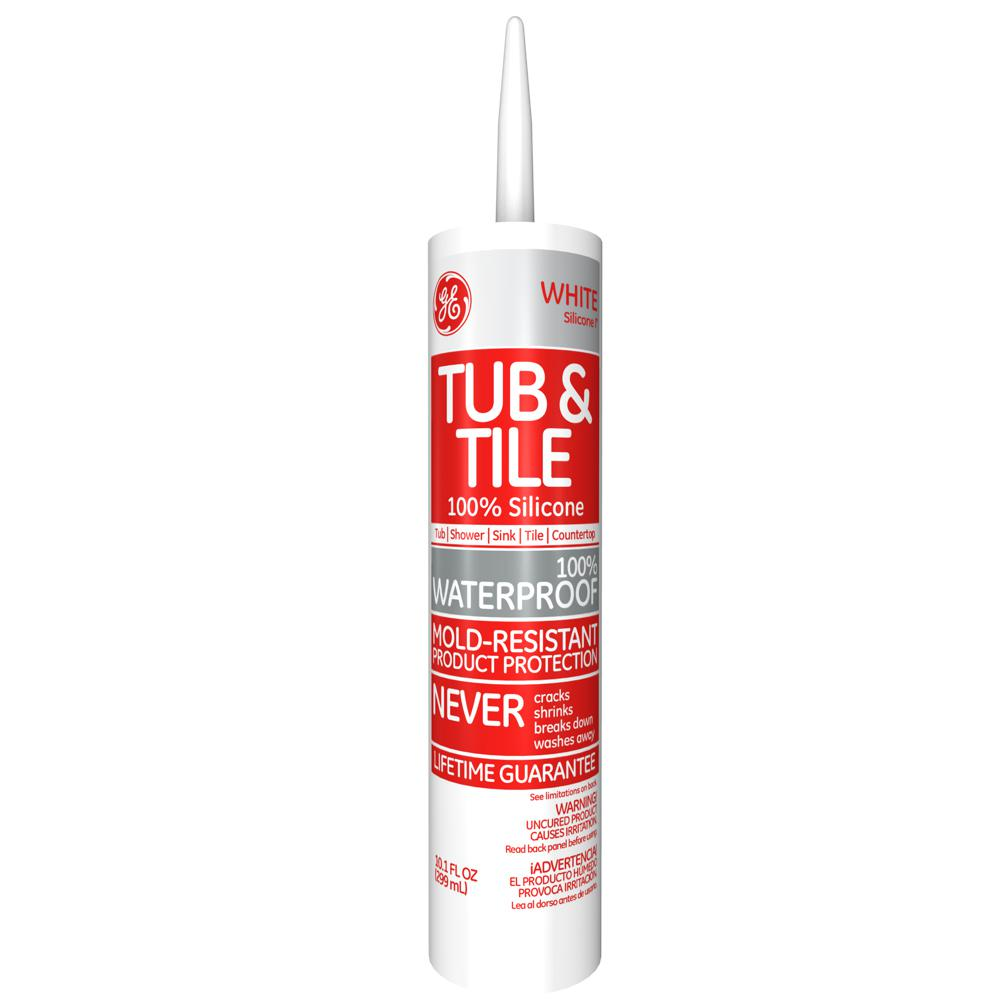 White bathroom sealant - Ge Tub And Tile Silicone I 10 1 Oz White Kitchen And Bath Caulk Ge712 12c The Home Depot