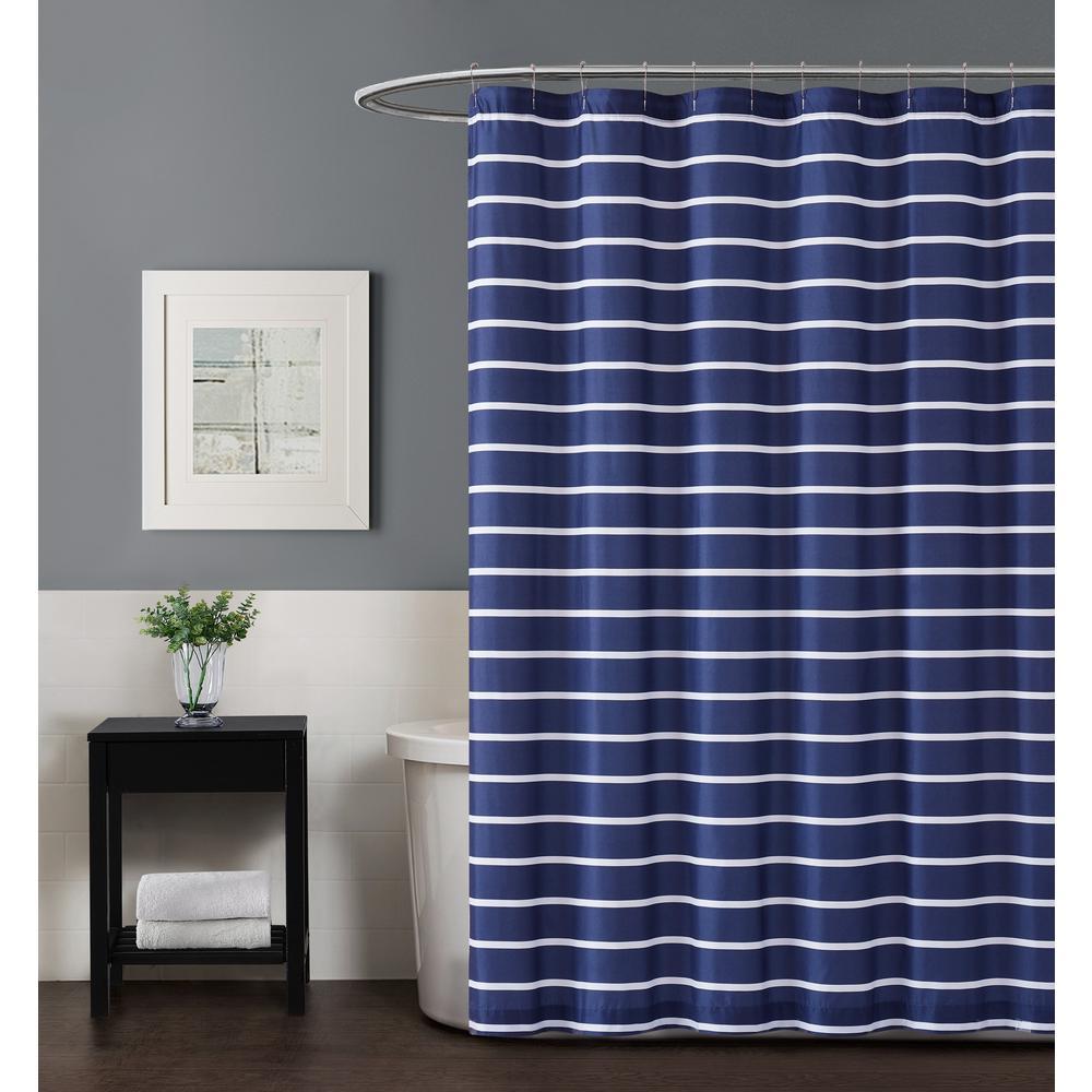 Maddow Stripe 72 in. Navy Shower Curtain