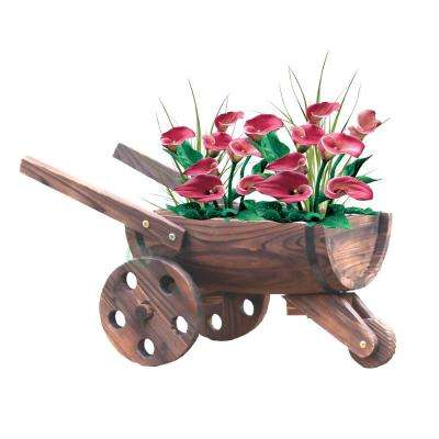 24 in. W x 13 in. D x 13 in. H Wood Wheelbarrow Barrel Planter