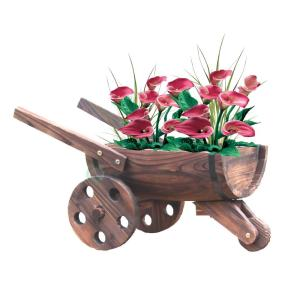 Vintiquewise 24 inch W x 13 inch D x 13 inch H Wood Wheelbarrow Barrel Planter by Vintiquewise