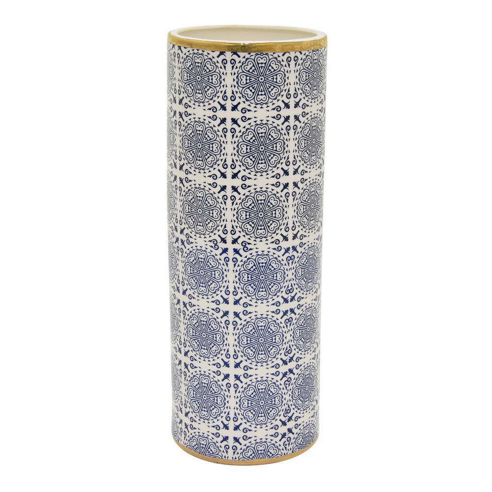 14.25 in. Porcelain Blue Gold Accent Vase