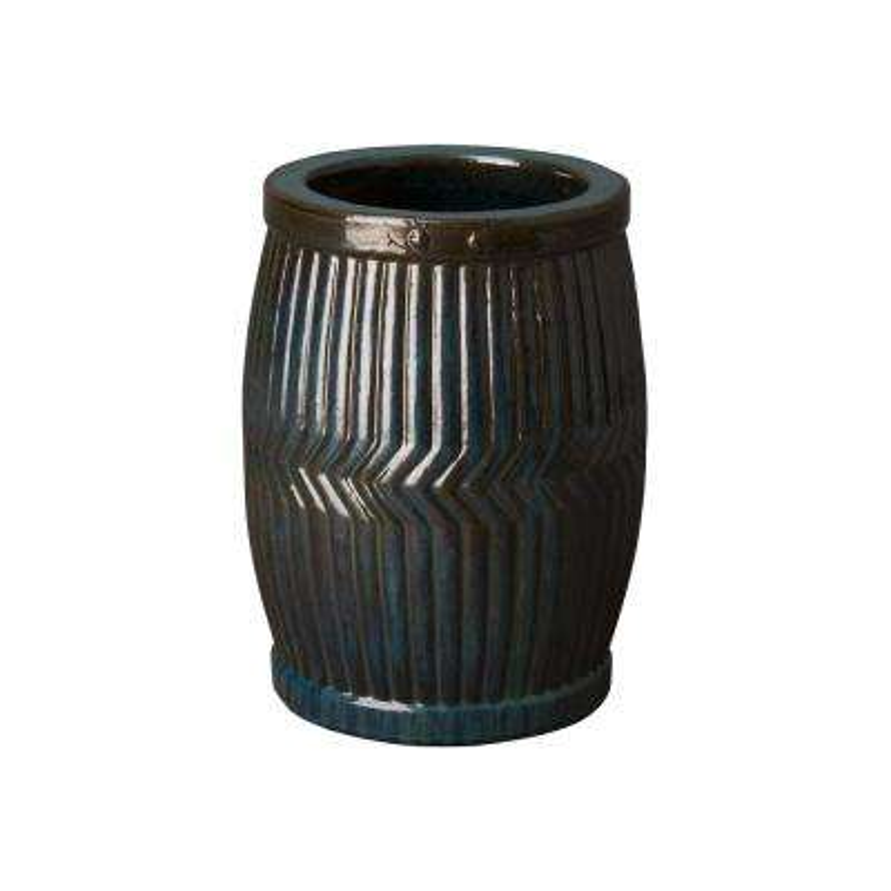 18 in. Round Turquoise Ceramic Dolly Tub Planter