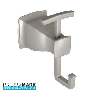 Moen Hensley Double Robe Hook with Press and Mark in Brushed Nickel by MOEN