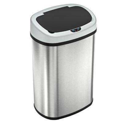 49 l/13 Gal. Oval Stainless Steel Automatic Sensor Touchless Trash Can with AC Adapter