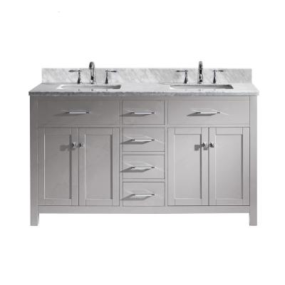 Virtu USA Caroline 60 in. W Double Bath Vanity in Cashmere Grey with Marble Vanity Top and Square Basin with Faucet