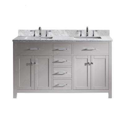Caroline 60 in. W Double Bath Vanity in Cashmere Grey with Marble Vanity Top and Square Basin with Faucet