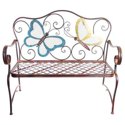 Metal Colored Butterflies Garden Bench