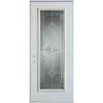 36 in. x 80 in. Neo-Deco Zinc Full Lite Painted White Right-Hand Inswing Steel Prehung Front Door