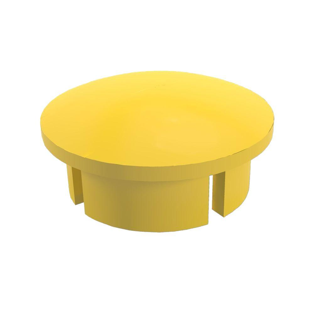 1-1/4 in. Furniture Grade PVC Internal Dome Cap in Yellow (10-Pack)