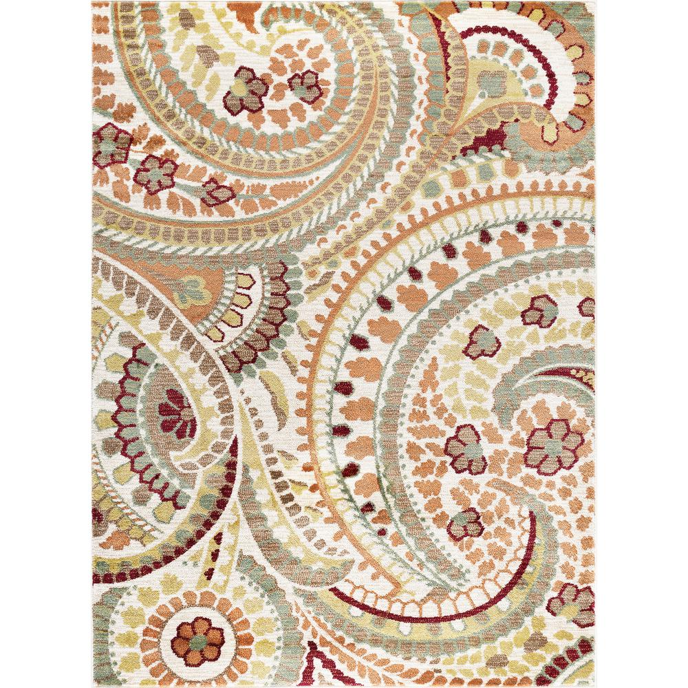 Tayse Rugs Deco Ivory 8 ft. x 10 ft. Transitional Area Rug