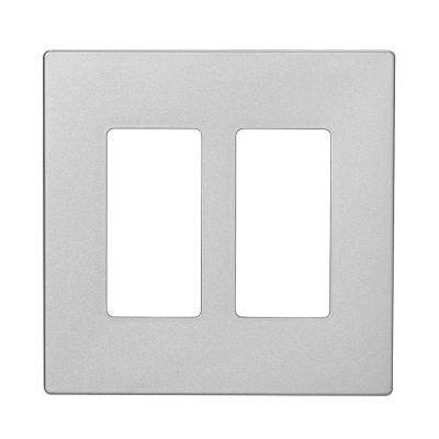 Designer 2-Gang Screwless Wallplate, Silver Granite