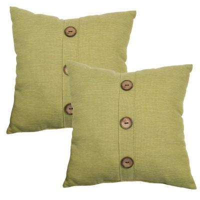 18 in. Luxe Solid Outdoor Toss Pillow with Coconut Leaf Buttons (2-Pack)