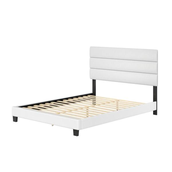 Luna White Faux Leather Upholstered Twin Platform Bed Frame with Slat System