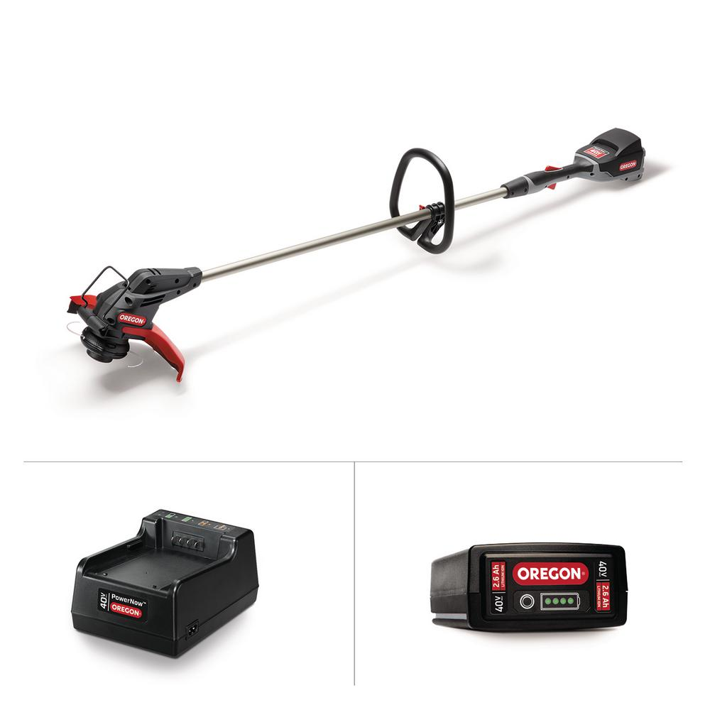 Oregon 40-Volt Lithium-Ion Cordless Straight Shaft String Trimmer with 2.6 Ah Battery and Charger